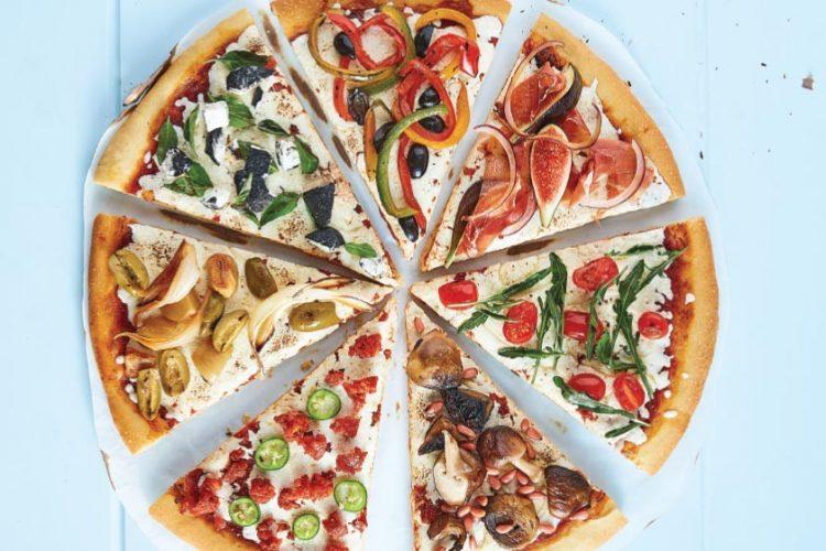 rebanadas de pizza vegetariana